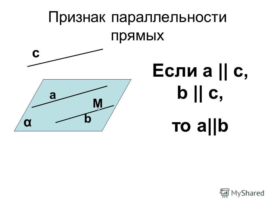 Признак параллельности прямых a b α M c Если а || c, b || c, то а||b
