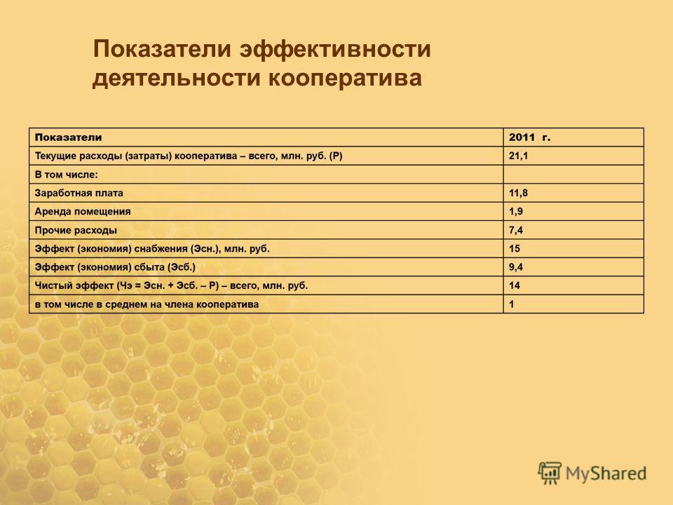 Показатели эффективности деятельности кооператива