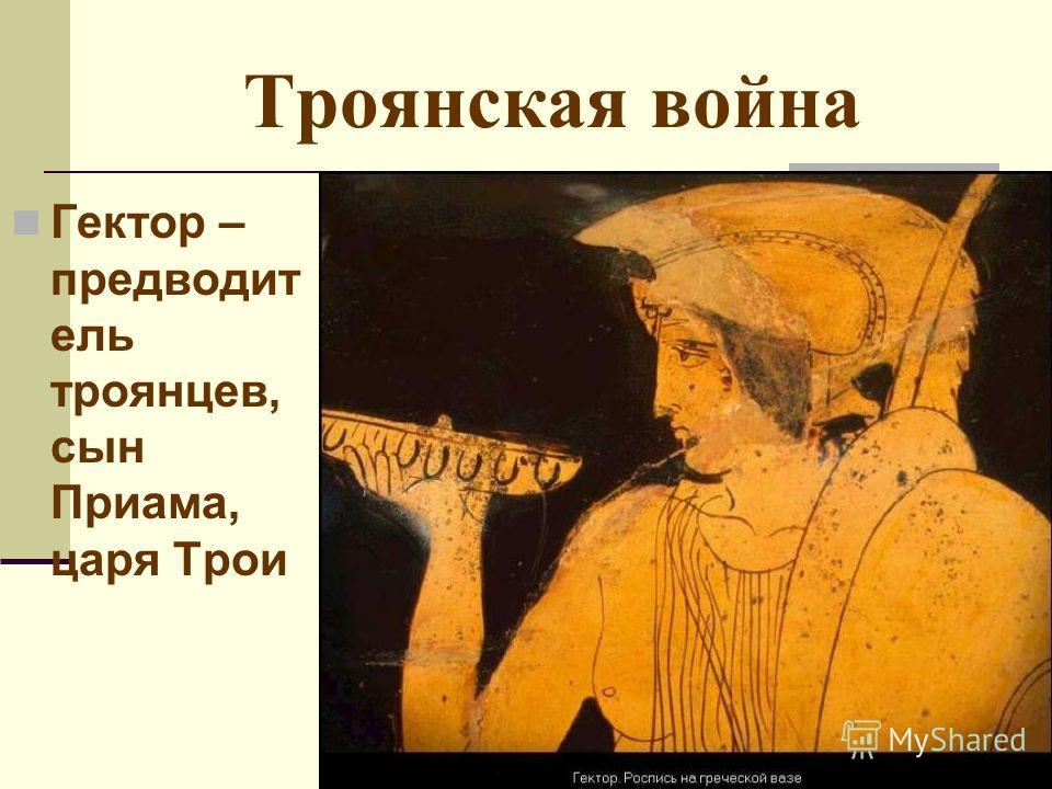 Троянская война Гектор – предводит ель троянцев, сын Приама, царя Трои