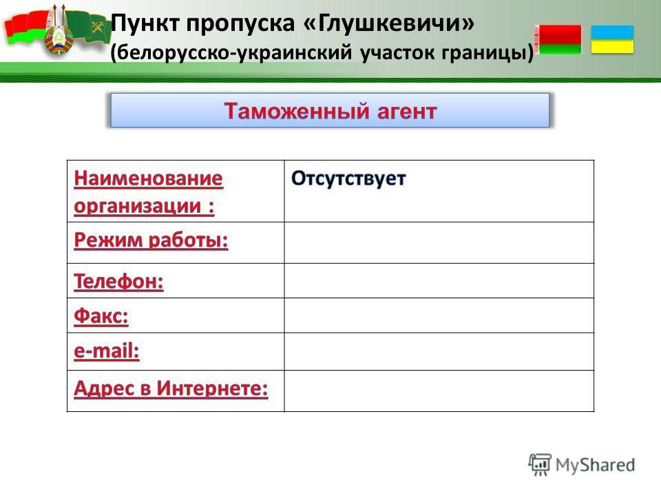 Пункт пропуска «Глушкевичи» (белорусско-украинский участок границы)