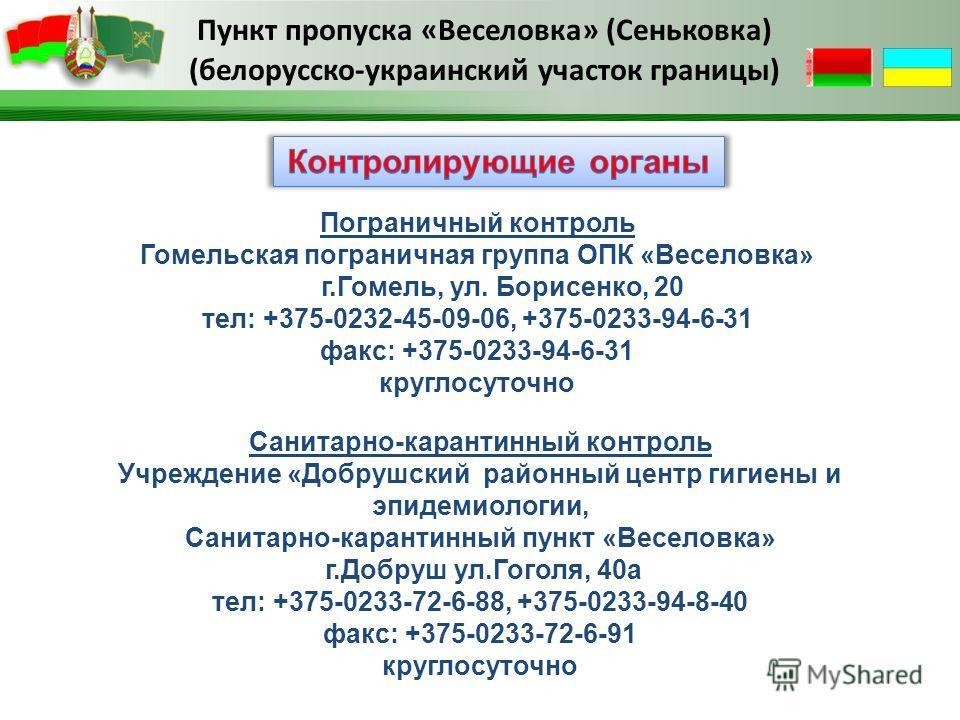 Пограничный контроль Гомельская пограничная группа ОПК «Веселовка» г.Гомель, ул. Борисенко, 20 тел: +375-0232-45-09-06, +375-0233-94-6-31 факс: +375-0233-94-6-31 круглосуточно Санитарно-карантинный контроль Учреждение «Добрушский районный центр гигие