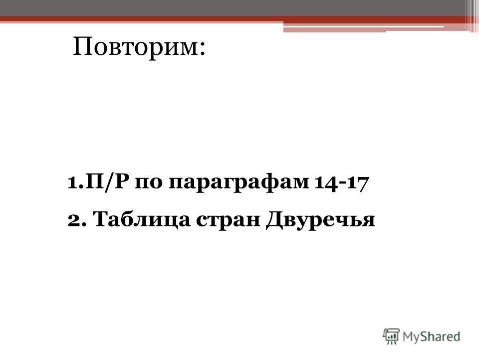 1.П/Р по параграфам 14-17 2. Таблица стран Двуречья Повторим: