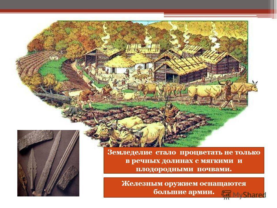Земледелие стало процветать не только в речных долинах с мягкими и плодородными почвами. Железным оружием оснащаются большие армии.