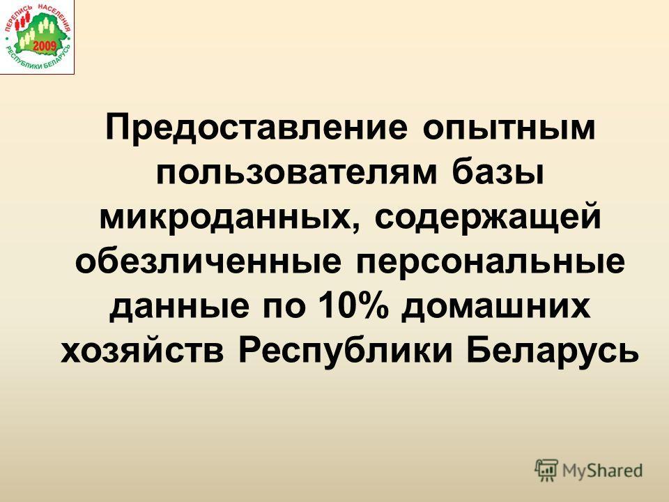 Предоставление опытным пользователям базы микроданных, содержащей обезличенные персональные данные по 10% домашних хозяйств Республики Беларусь
