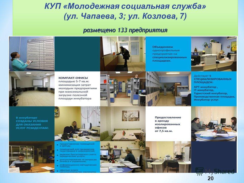 КУП «Молодежная социальная служба» (ул. Чапаева, 3; ул. Козлова, 7) размещено 133 предприятия 20
