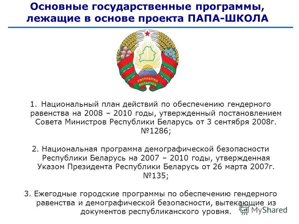 Основные государственные программы, лежащие в основе проекта ПАПА-ШКОЛА 1.Национальный план действий по обеспечению гендерного равенства на 2008 – 2010 годы, утвержденный постановлением Совета Министров Республики Беларусь от 3 сентября 2008г. 1286;