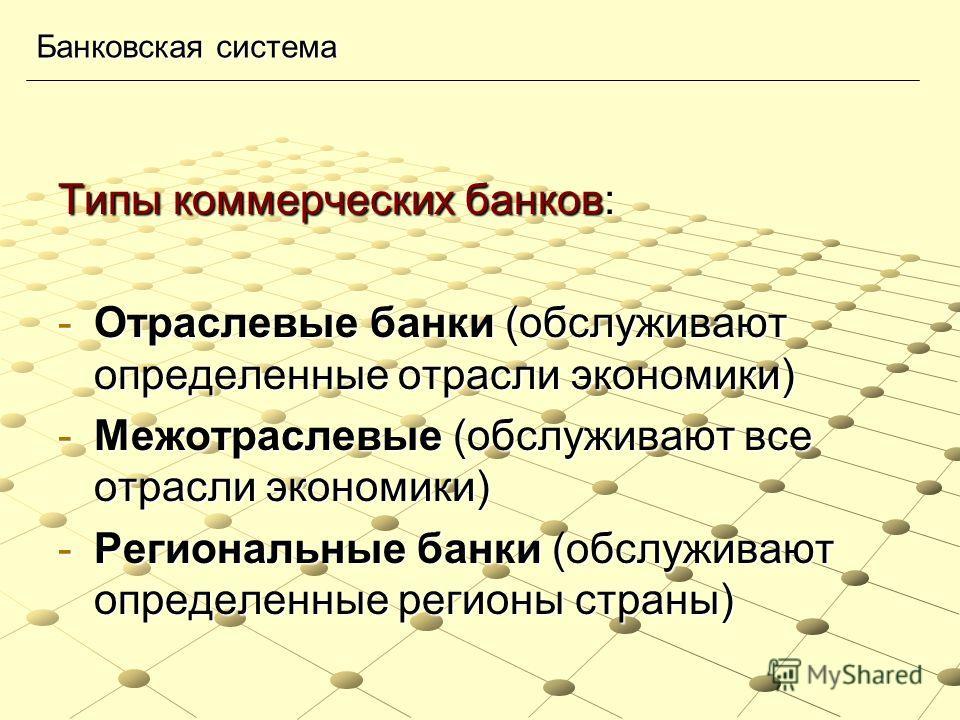 Типы коммерческих банков: -Отраслевые банки (обслуживают определенные отрасли экономики) -Межотраслевые (обслуживают все отрасли экономики) -Региональные банки (обслуживают определенные регионы страны) Банковская система