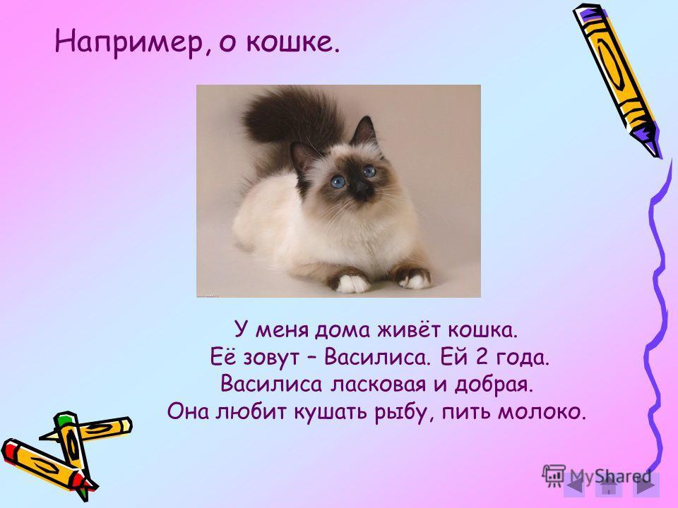 У меня дома живёт кошка. Её зовут – Василиса. Ей 2 года. Василиса ласковая и добрая. Она любит кушать рыбу, пить молоко. Например, о кошке.