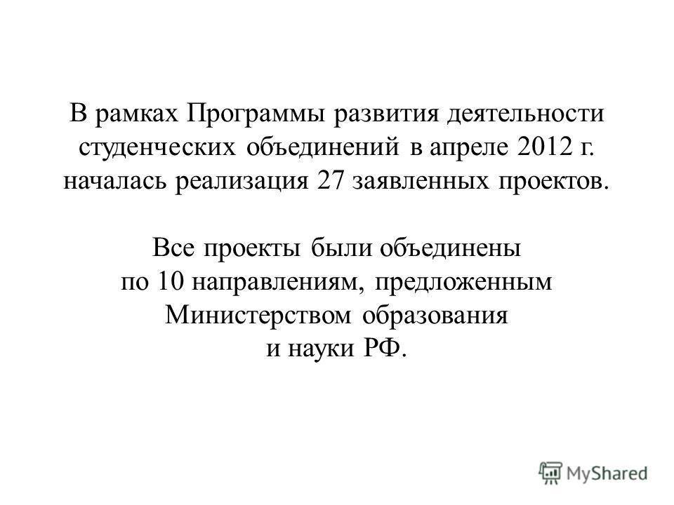 В рамках Программы развития деятельности студенческих объединений в апреле 2012 г. началась реализация 27 заявленных проектов. Все проекты были объединены по 10 направлениям, предложенным Министерством образования и науки РФ.