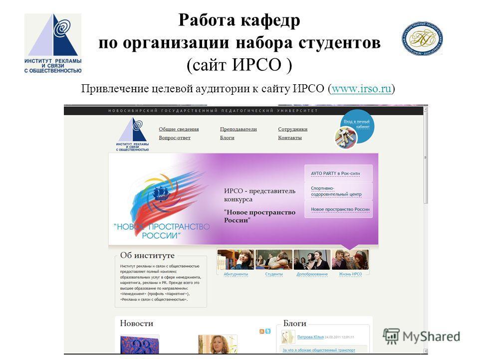 Привлечение целевой аудитории к сайту ИРСО (www.irso.ru)www.irso.ru Работа кафедр по организации набора студентов (сайт ИРСО )