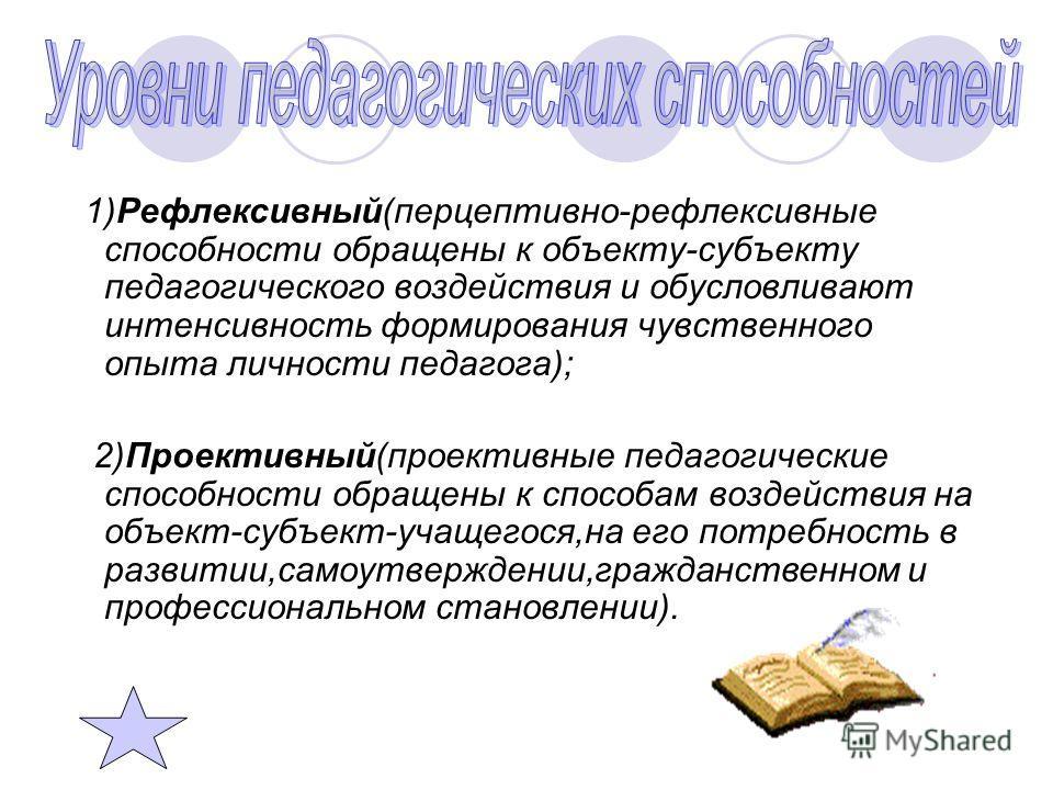 1)Рефлексивный(перцептивно-рефлексивные способности обращены к объекту-субъекту педагогического воздействия и обусловливают интенсивность формирования чувственного опыта личности педагога); 2)Проективный(проективные педагогические способности обращен