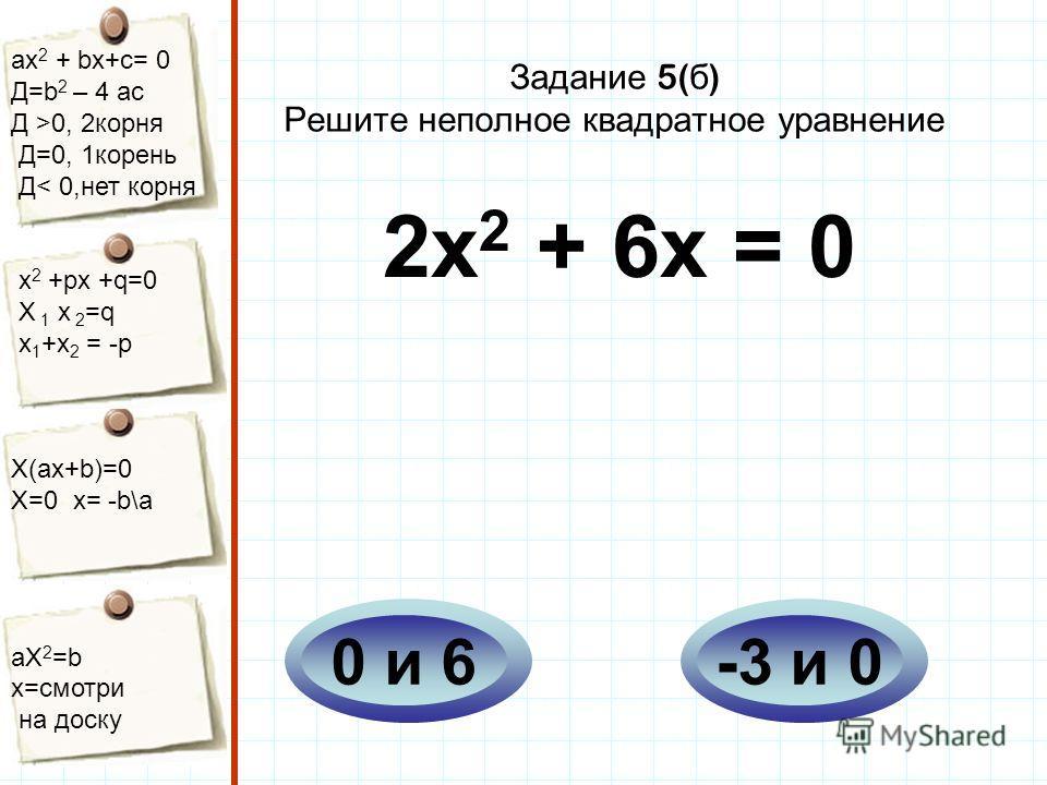 aх 2 + bх+с= 0 Д=b 2 – 4 ac Д >0, 2корня Д=0, 1корень Д< 0,нет корня х 2 +рх +q=0 Х 1 х 2 =q x 1 +x 2 = -p Х(aх+b)=0 X=0 x= -b\a aX 2 =b x=смотри на доску Задание 5( б ) Решите неполное квадратное уравнение 2х 2 + 6х = 0 -3 и 00 и 6