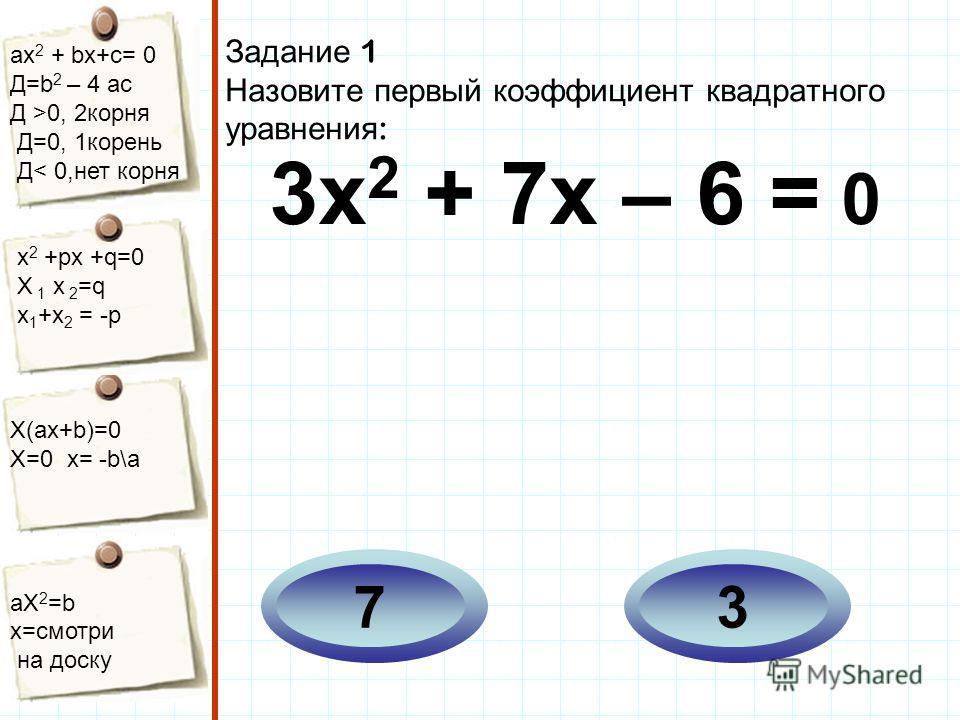 aх 2 + bх+с= 0 Д=b 2 – 4 ac Д >0, 2корня Д=0, 1корень Д< 0,нет корня х 2 +рх +q=0 Х 1 х 2 =q x 1 +x 2 = -p Х(aх+b)=0 X=0 x= -b\a aX 2 =b x=смотри на доску Задание 1 Назовите первый коэффициент квадратного уравнения : 3х 2 + 7х – 6 = 0 37