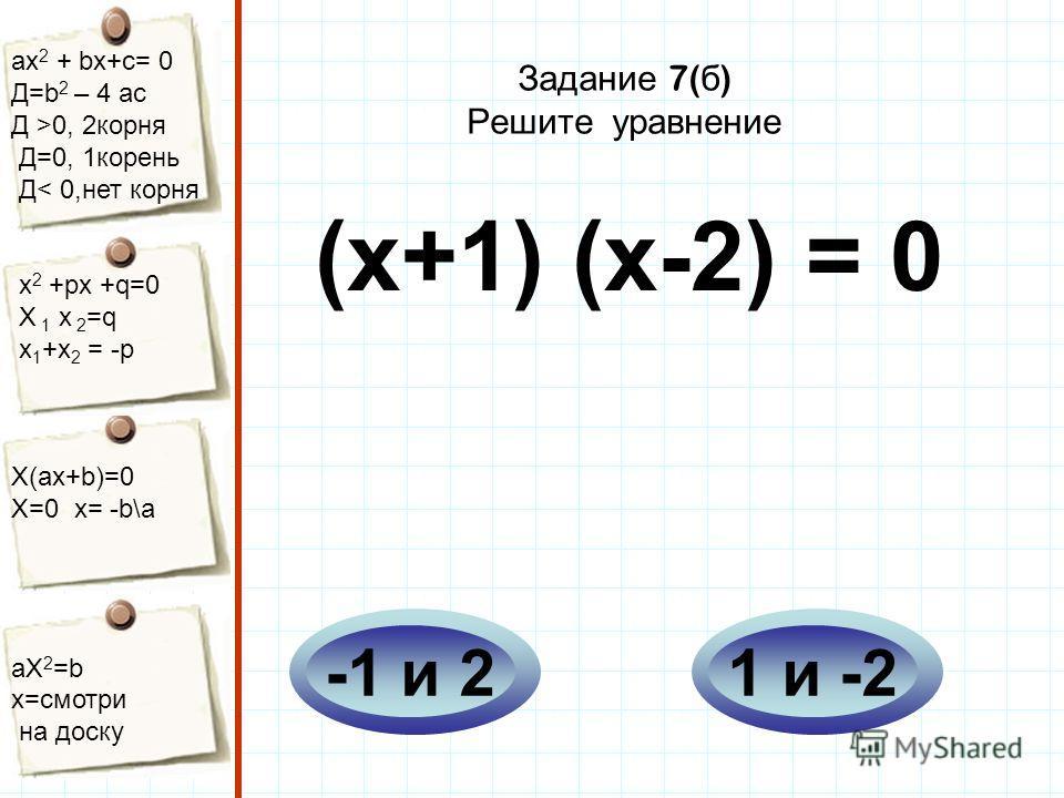 aх 2 + bх+с= 0 Д=b 2 – 4 ac Д >0, 2корня Д=0, 1корень Д< 0,нет корня х 2 +рх +q=0 Х 1 х 2 =q x 1 +x 2 = -p Х(aх+b)=0 X=0 x= -b\a aX 2 =b x=смотри на доску Задание 7( б ) Решите уравнение (х+1) (х-2) = 0 1 и -2-1 и 2