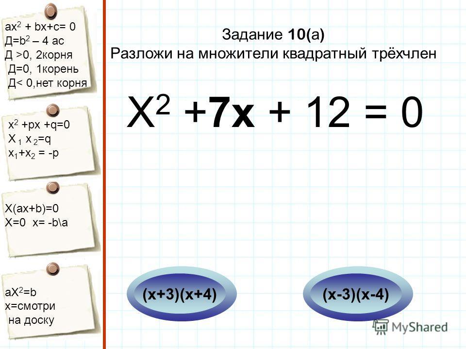 aх 2 + bх+с= 0 Д=b 2 – 4 ac Д >0, 2корня Д=0, 1корень Д< 0,нет корня х 2 +рх +q=0 Х 1 х 2 =q x 1 +x 2 = -p Х(aх+b)=0 X=0 x= -b\a aX 2 =b x=смотри на доску Задание 10( а ) Разложи на множители квадратный трёхчлен Х 2 +7х + 12 = 0 (х-3)(х-4)(х+3)(х+4)