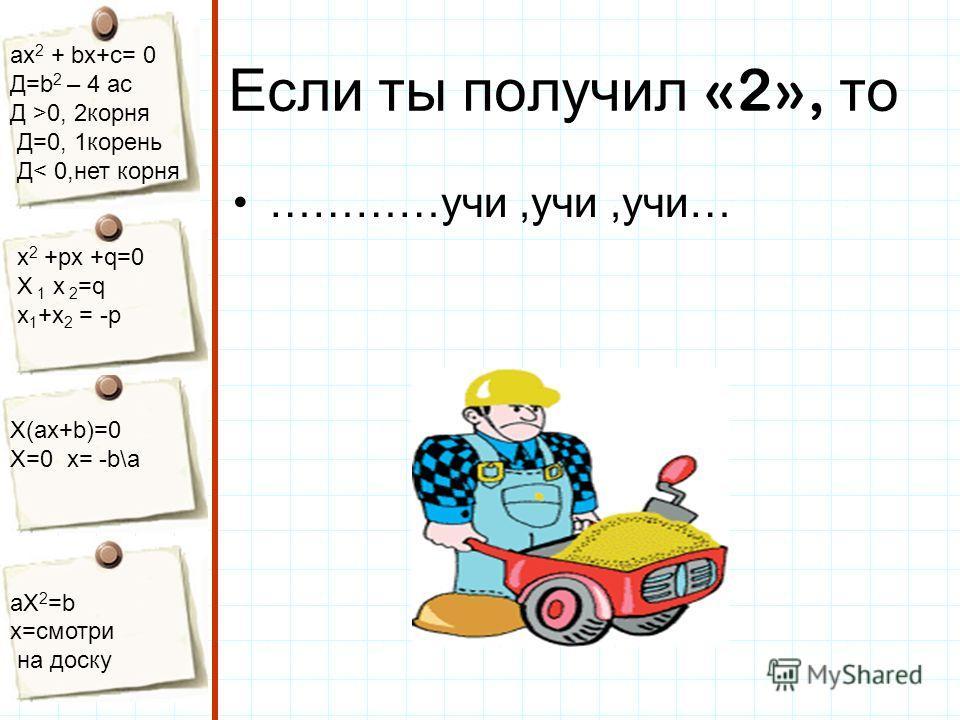 aх 2 + bх+с= 0 Д=b 2 – 4 ac Д >0, 2корня Д=0, 1корень Д< 0,нет корня х 2 +рх +q=0 Х 1 х 2 =q x 1 +x 2 = -p Х(aх+b)=0 X=0 x= -b\a aX 2 =b x=смотри на доску Если ты получил «2», то …………учи,учи,учи…