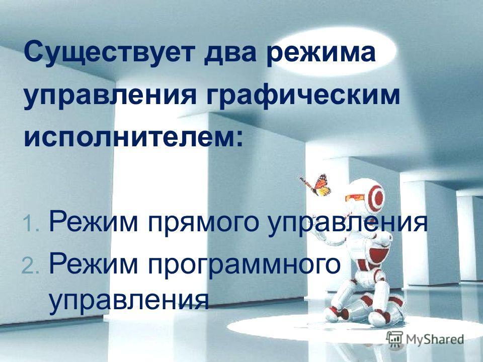 Существует два режима управления графическим исполнителем: 1. Режим прямого управления 2. Режим программного управления
