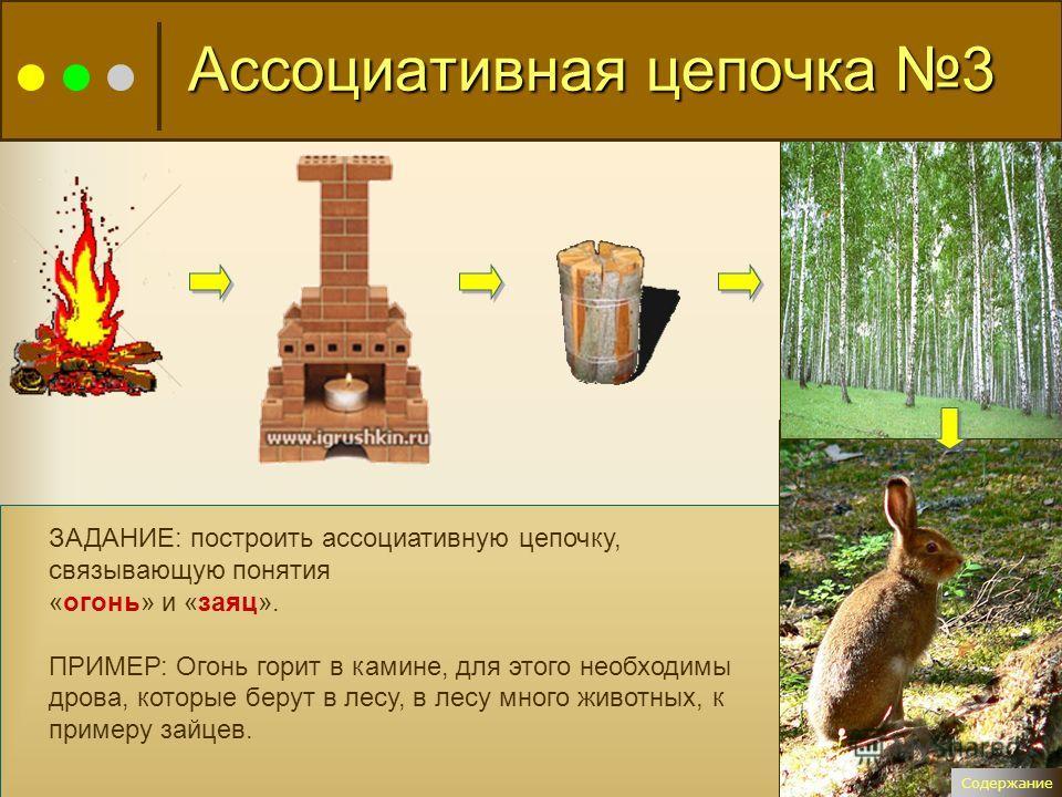 ЗАДАНИЕ: построить ассоциативную цепочку, связывающую понятия «огонь» и «заяц». ПРИМЕР: Огонь горит в камине, для этого необходимы дрова, которые берут в лесу, в лесу много животных, к примеру зайцев. Содержание Ассоциативная цепочка 3