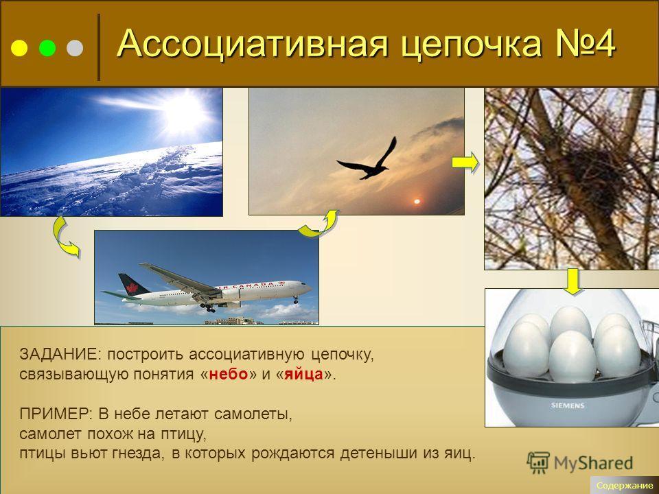 ЗАДАНИЕ: построить ассоциативную цепочку, связывающую понятия «небо» и «яйца». ПРИМЕР: В небе летают самолеты, самолет похож на птицу, птицы вьют гнезда, в которых рождаются детеныши из яиц. Содержание Ассоциативная цепочка 4