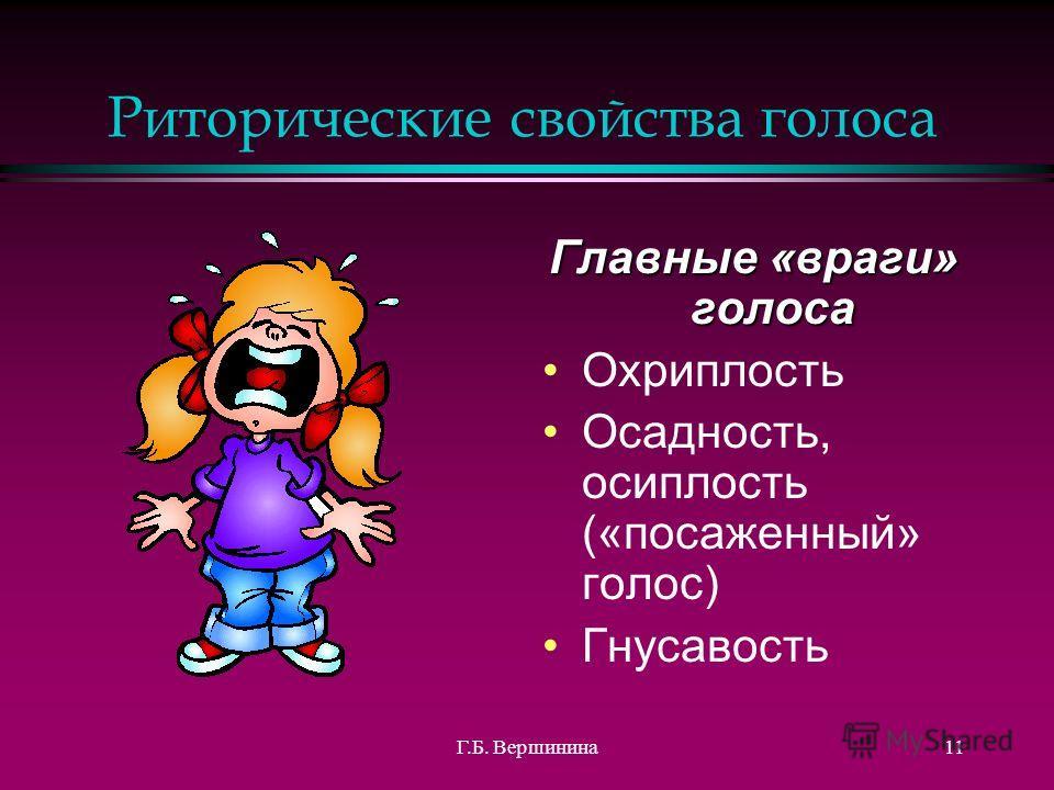 Г.Б. Вершинина10 Риторические свойства голоса 7) Устойчивость (способность голоса не менять без усилия говорящего высоту и силу звука, не «пускать петуха»)