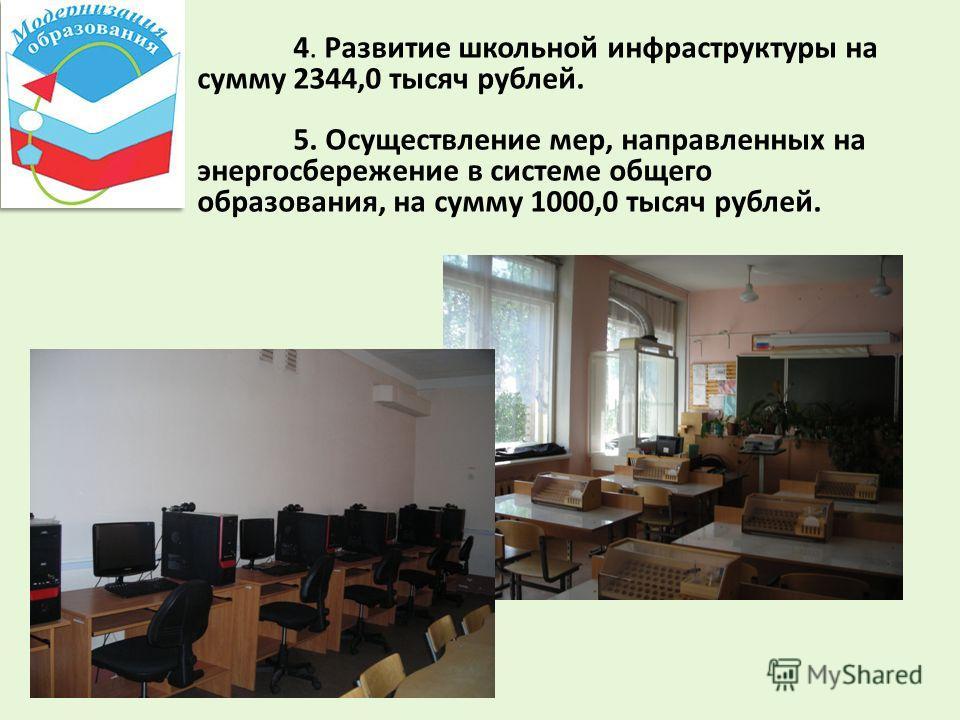4. Развитие школьной инфраструктуры на сумму 2344,0 тысяч рублей. 5. Осуществление мер, направленных на энергосбережение в системе общего образования, на сумму 1000,0 тысяч рублей.