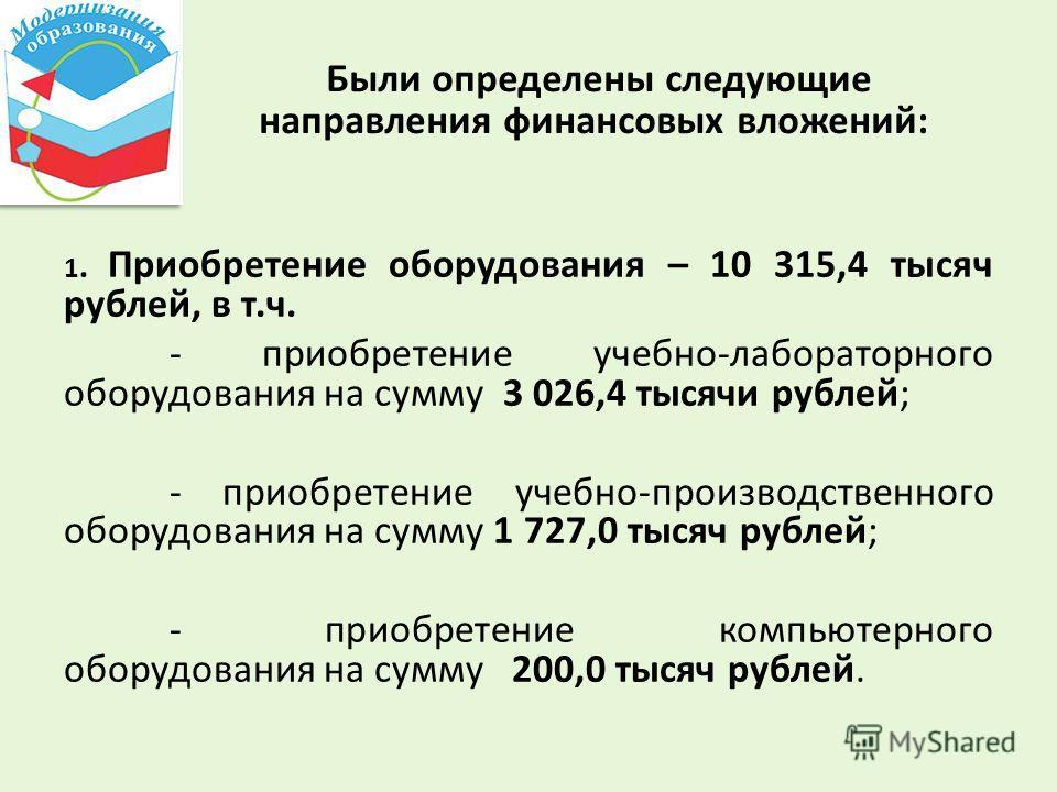 Были определены следующие направления финансовых вложений: 1. Приобретение оборудования – 10 315,4 тысяч рублей, в т.ч. - приобретение учебно-лабораторного оборудования на сумму 3 026,4 тысячи рублей; - приобретение учебно-производственного оборудова