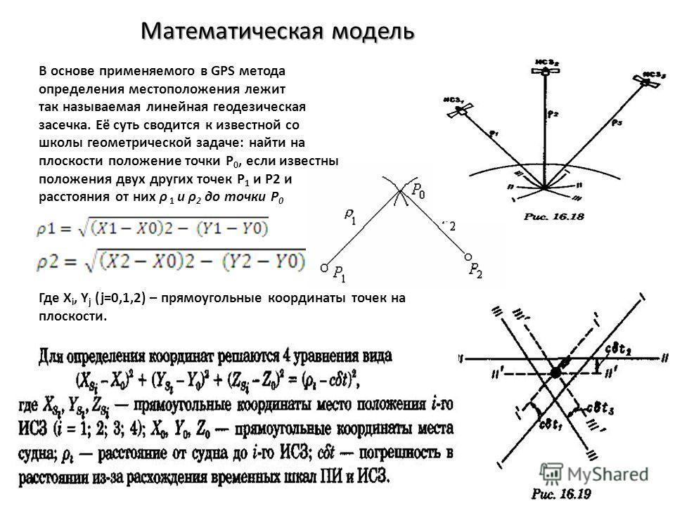 Математическая модель В основе применяемого в GPS метода определения местоположения лежит так называемая линейная геодезическая засечка. Её суть сводится к известной со школы геометрической задаче: найти на плоскости положение точки Р 0, если известн