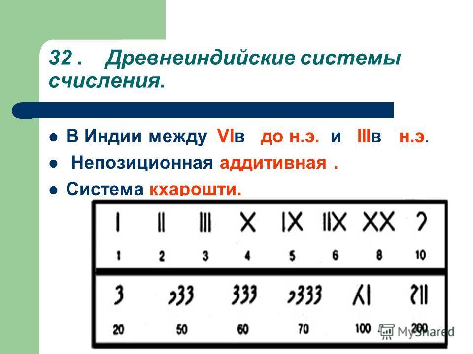 32. Древнеиндийские системы счисления. В Индии между VIв до н.э. и IIIв н.э. Непозиционная аддитивная. Система кхарошти.
