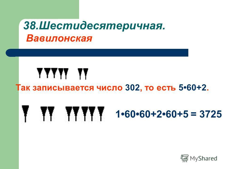 38.Шестидесятеричная. Вавилонская Так записывается число 302, то есть 560+2. 16060+260+5 = 3725