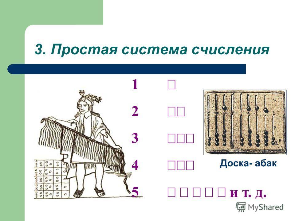 3. Простая система счисления 1 2 3 4 5 и т. д. Доска- абак