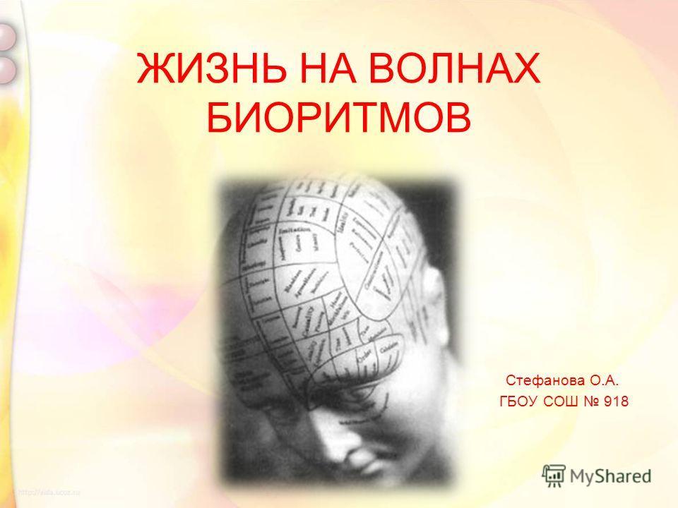 ЖИЗНЬ НА ВОЛНАХ БИОРИТМОВ Стефанова О.А. ГБОУ СОШ 918