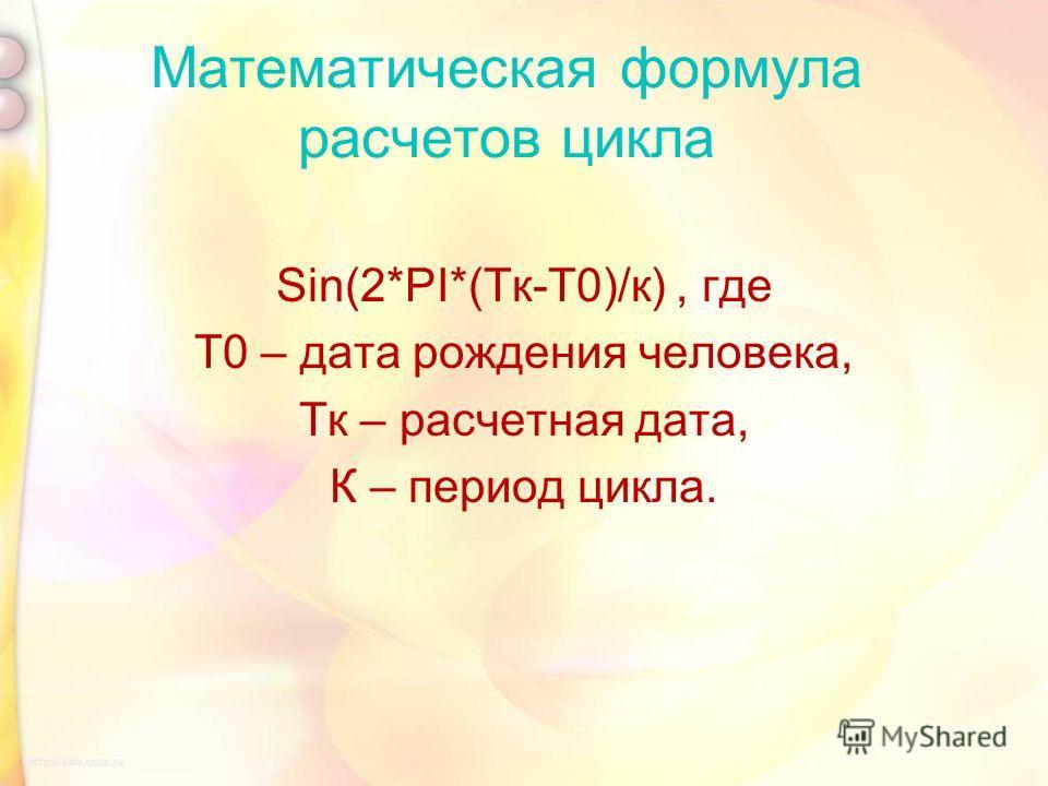 Математическая формула расчетов цикла Sin(2*PI*(Тк-Т0)/к), где Т0 – дата рождения человека, Тк – расчетная дата, К – период цикла.