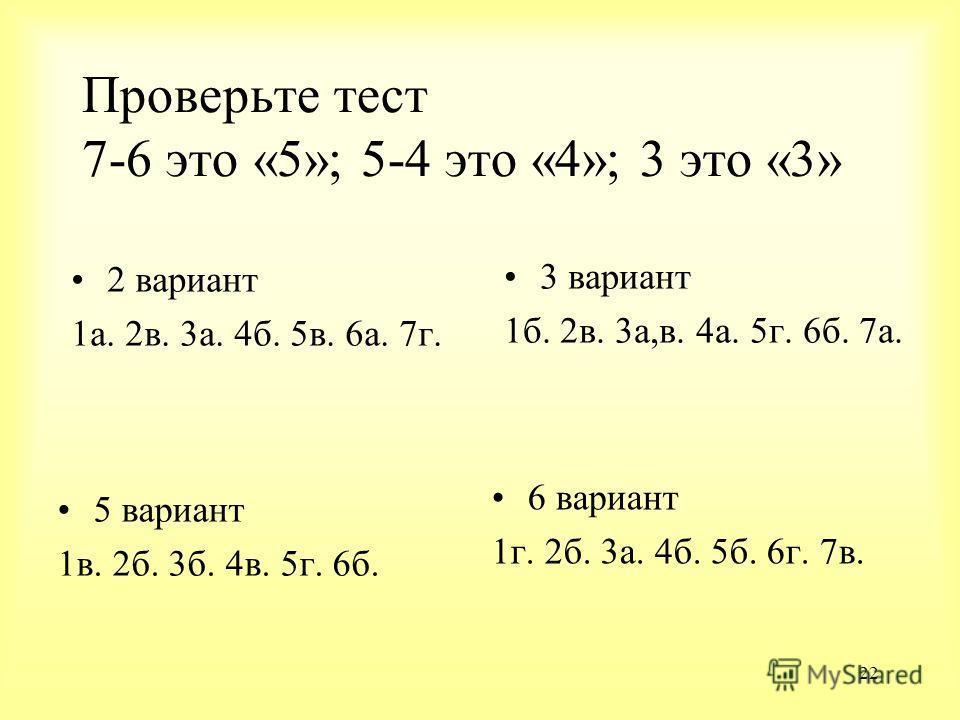 22 Проверьте тест 7-6 это «5»; 5-4 это «4»; 3 это «3» 2 вариант 1а. 2в. 3а. 4б. 5в. 6а. 7г. 3 вариант 1б. 2в. 3а,в. 4а. 5г. 6б. 7а. 5 вариант 1в. 2б. 3б. 4в. 5г. 6б. 6 вариант 1г. 2б. 3а. 4б. 5б. 6г. 7в.