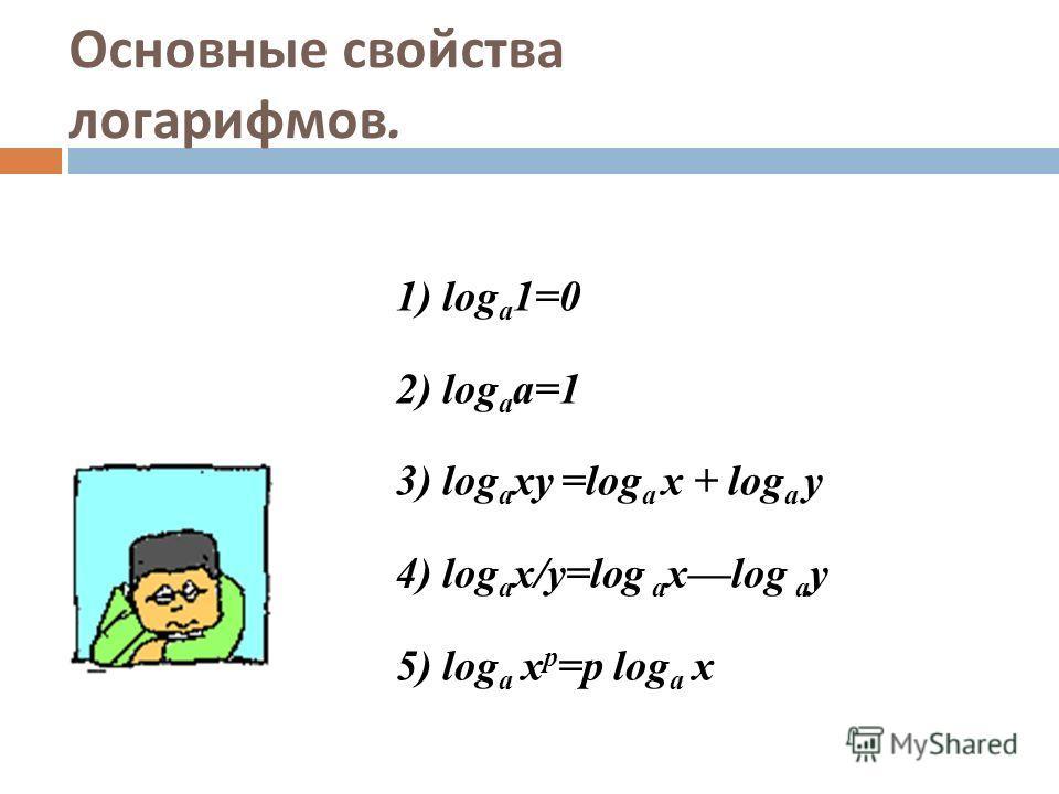 Основные свойства логарифмов. 1) log a 1=0 2) log a a=1 3) log a xy =log a x + log a y 4) log a х/у=log a xlog a y 5) log a x p =p log a x