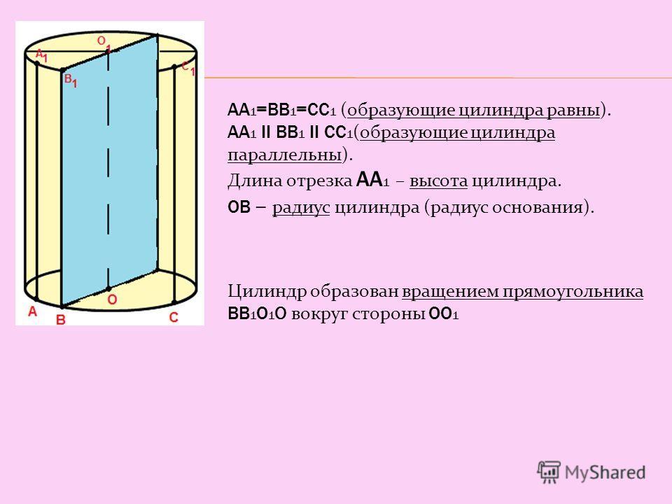 АА 1 =ВВ 1 =СС 1 (образующие цилиндра равны). АА 1 II ВВ 1 II СС 1 (образующие цилиндра параллельны). Длина отрезка АА 1 – высота цилиндра. ОВ – радиус цилиндра (радиус основания). Цилиндр образован вращением прямоугольника ВВ 1 О 1 О вокруг стороны