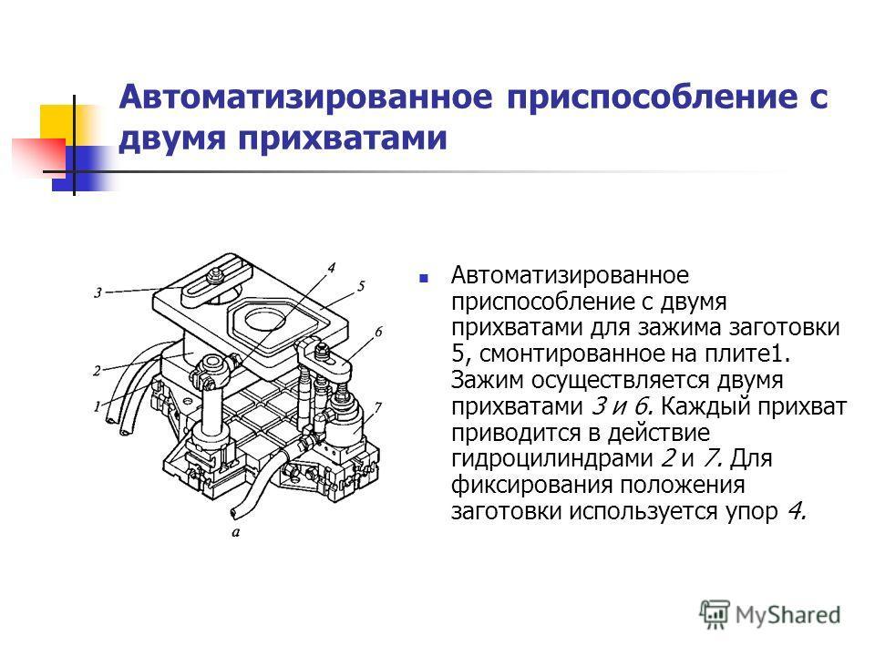 Автоматизированное приспособление с двумя прихватами Автоматизированное приспособление с двумя прихватами для зажима заготовки 5, смонтированное на плите1. Зажим осуществляется двумя прихватами 3 и 6. Каждый прихват приводится в действие гидроцилиндр