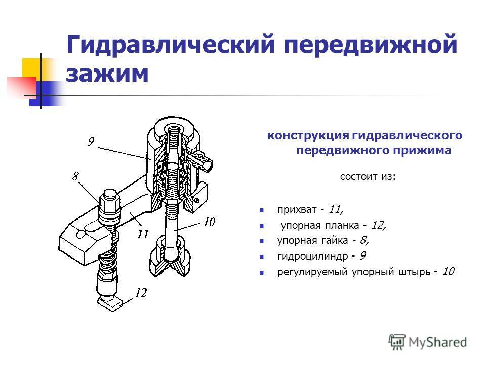 Гидравлический передвижной зажим конструкция гидравлического передвижного прижима состоит из: прихват - 11, упорная планка - 12, упорная гайка - 8, гидроцилиндр - 9 регулируемый упорный штырь - 10