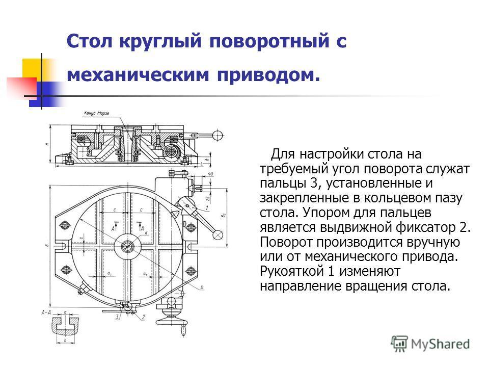 Стол круглый поворотный с механическим приводом. Для настройки стола на требуемый угол поворота служат пальцы 3, установленные и закрепленные в кольцевом пазу стола. Упором для пальцев является выдвижной фиксатор 2. Поворот производится вручную или о