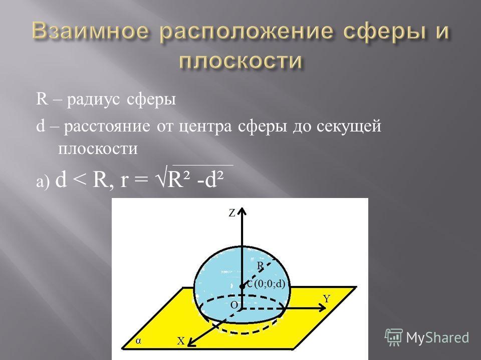 R – радиус сферы d – расстояние от центра сферы до секущей плоскости а) d < R, r = R² -d²
