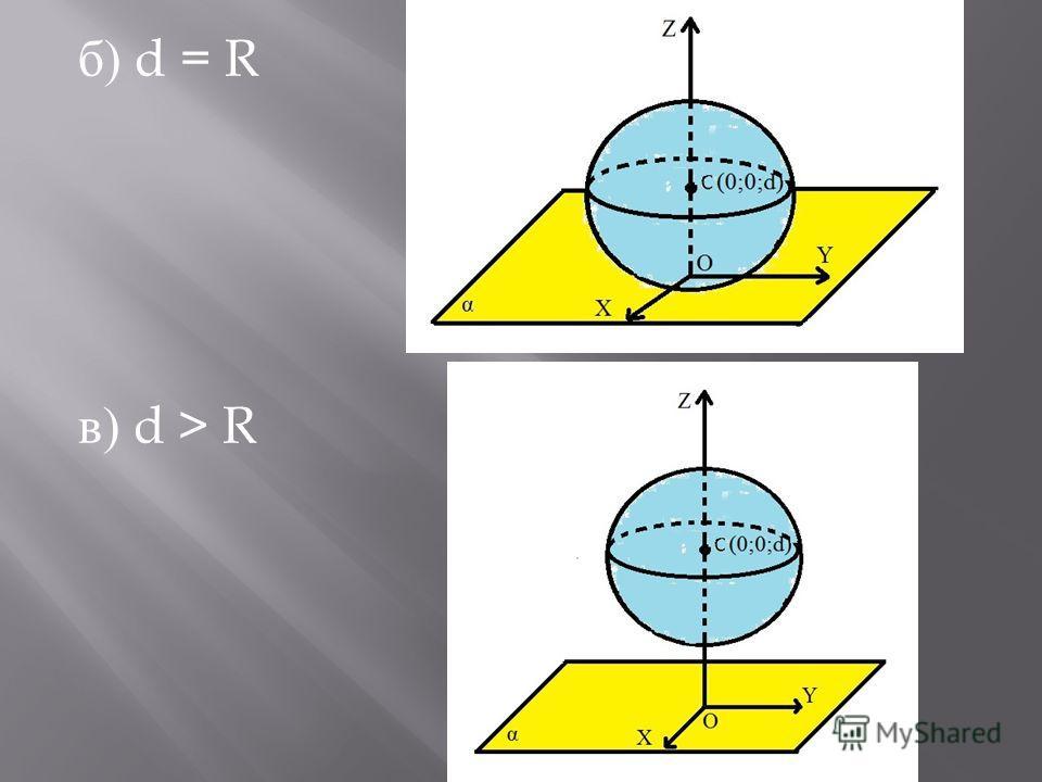б ) d = R в ) d > R