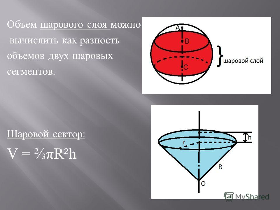 Объем шарового слоя можно вычислить как разность объемов двух шаровых сегментов. Шаровой сектор: V = πR²h