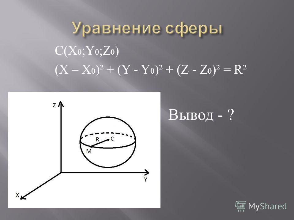 С ( X 0 ;Y 0 ;Z 0 ) (Х – X 0 )² + (Y - Y 0 )² + (Z - Z 0 )² = R² Вывод - ?