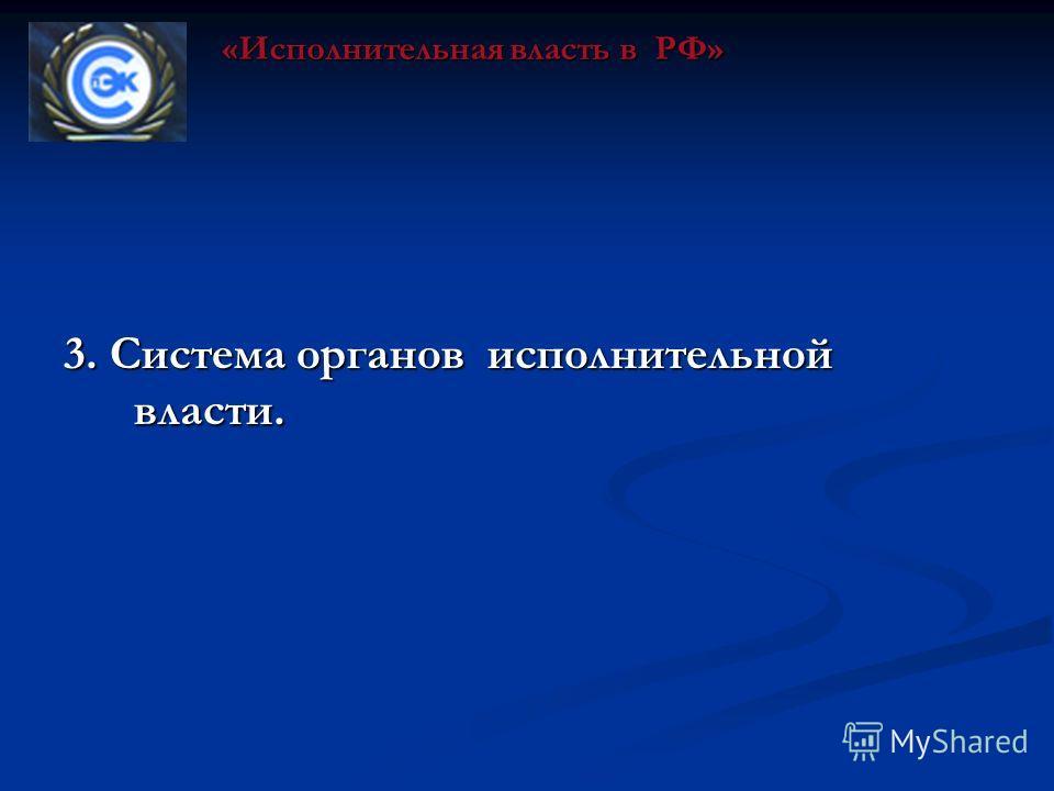 3. Система органов исполнительной власти. «Исполнительная власть в РФ»