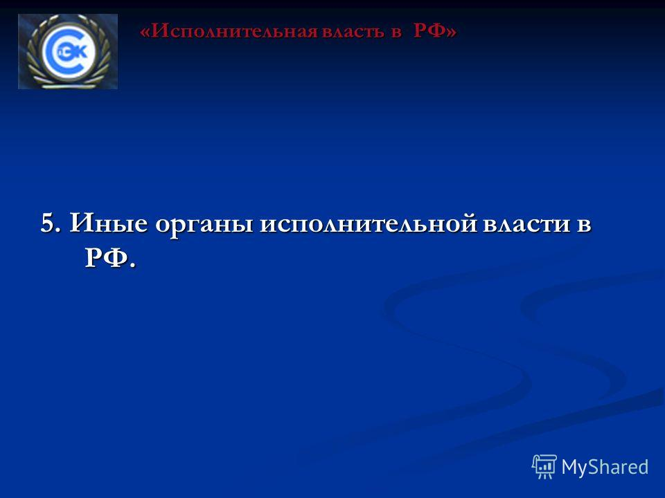 5. Иные органы исполнительной власти в РФ. «Исполнительная власть в РФ»