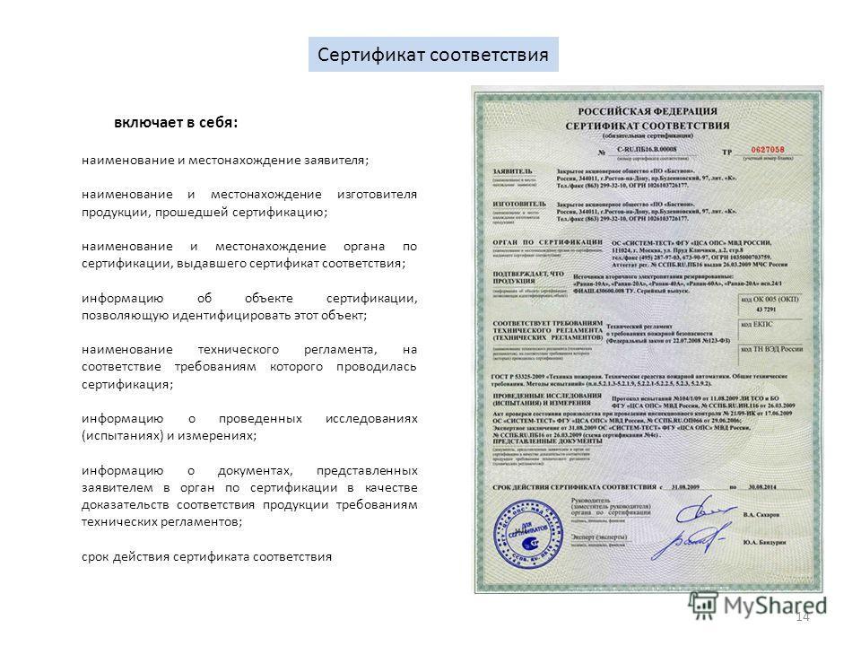 14 Сертификат соответствия наименование и местонахождение заявителя; наименование и местонахождение изготовителя продукции, прошедшей сертификацию; наименование и местонахождение органа по сертификации, выдавшего сертификат соответствия; информацию о