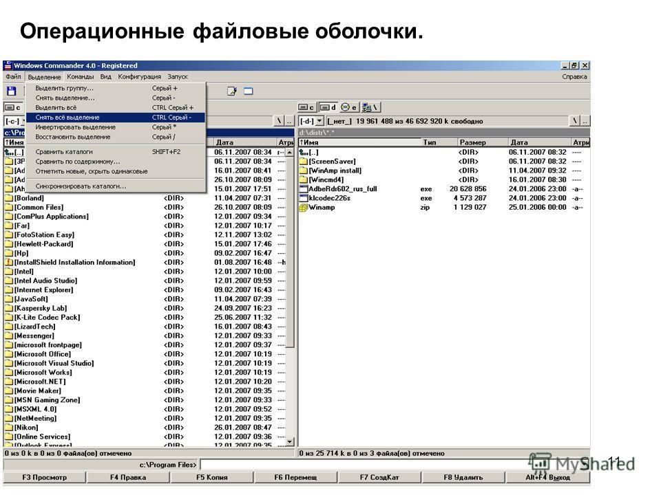 11 Операционные файловые оболочки.