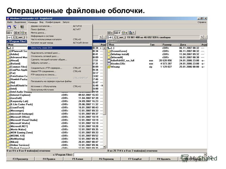 12 Операционные файловые оболочки.