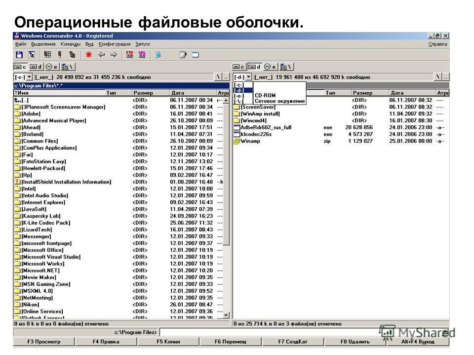 16 Операционные файловые оболочки.