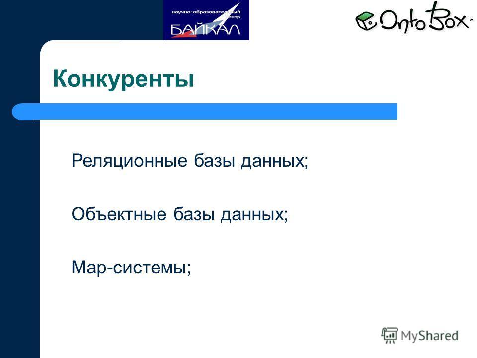 Конкуренты Реляционные базы данных; Объектные базы данных; Map-системы;