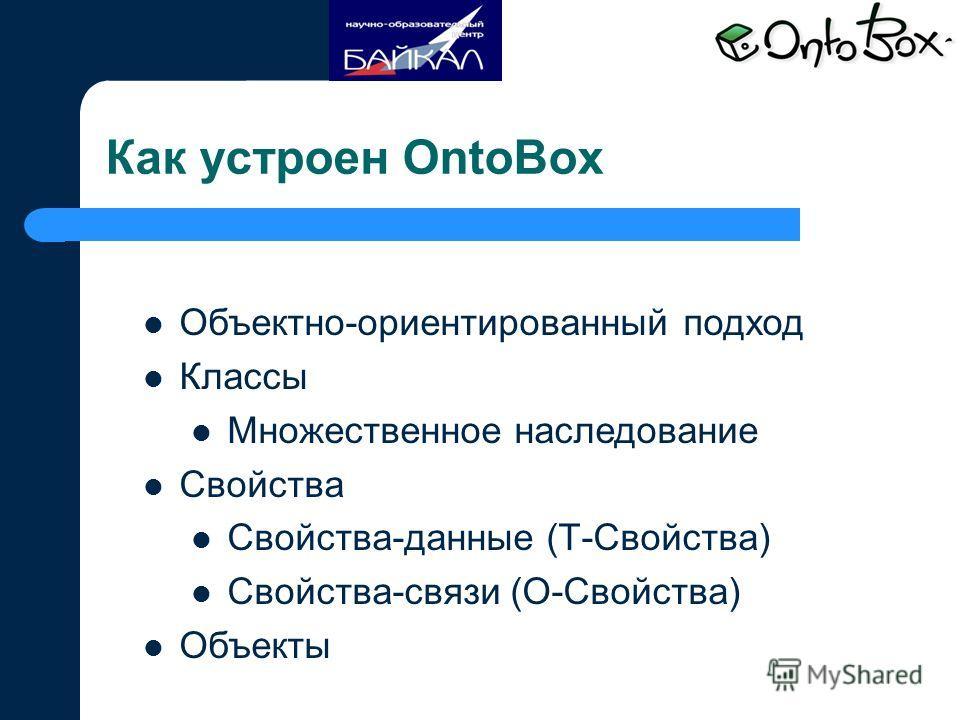 Как устроен OntoBox Объектно-ориентированный подход Классы Множественное наследование Свойства Свойства-данные (Т-Свойства) Свойства-связи (О-Свойства) Объекты
